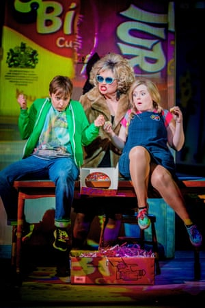 Katie Bray, left, and Fflur Wyn with Susan Bullock as the Witch in Hansel and Gretel