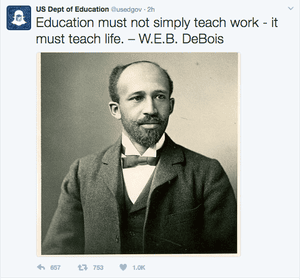 The Department of Education's first tweet about WEB Du Bois.