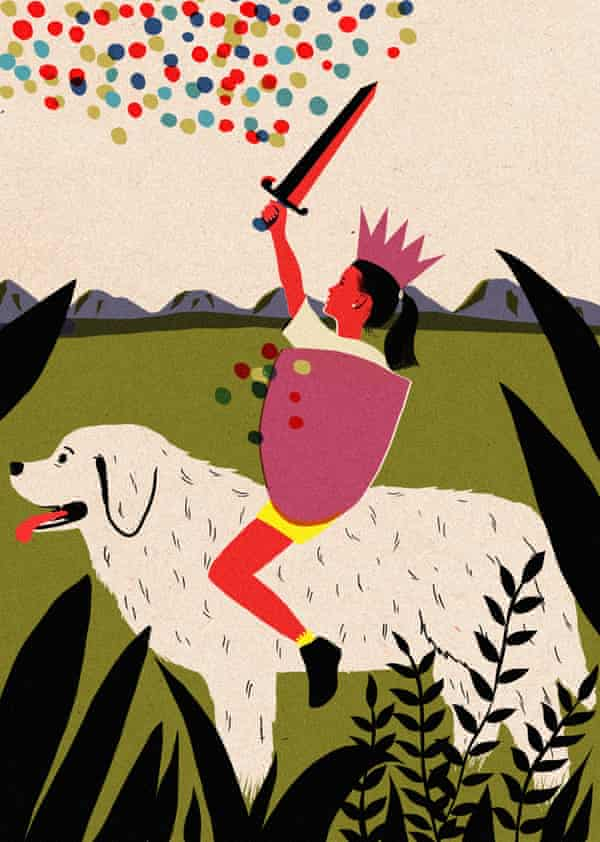 Illustration of a girl riding a dog with a sword raised above her head cutting through coloured dots