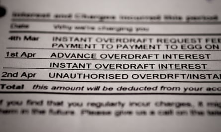Bank statement showing interest and overdraft charges