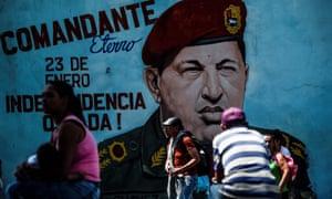 Complex legacy … a mural of Hugo Chávez in Caracas, Venezuela.