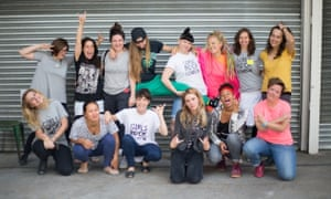 Founders and volunteers at the London camp including Geraldine Smith (back row, second from left), Vicky O'Neon (back row, third from right) and Ellie Roswell of Wolf Alice (front row, third from right)