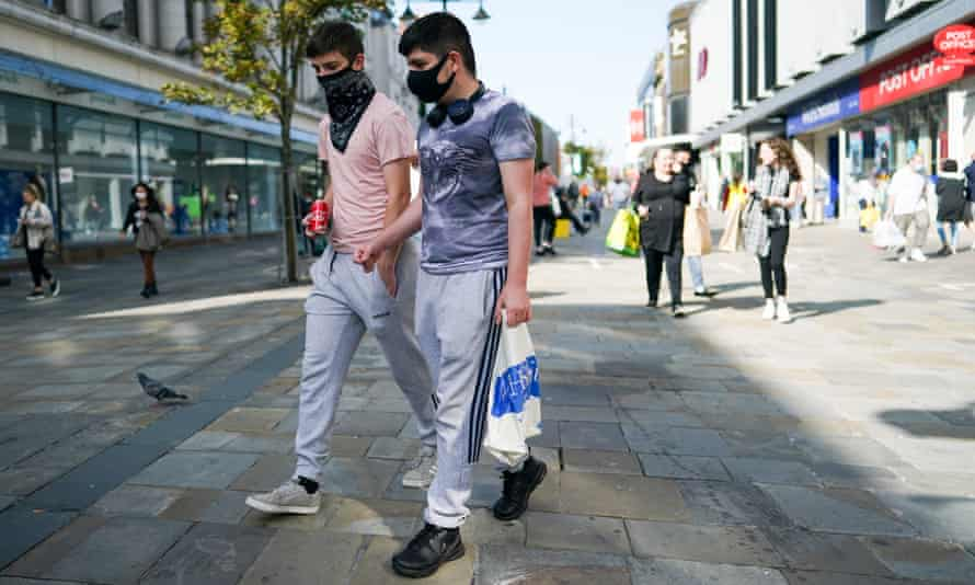 Masked shoppers in Newcastle