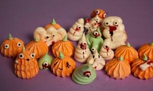 Ghost and pumpkin meringues.