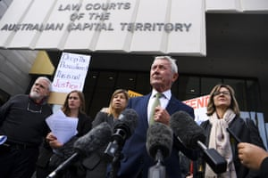 Lawyer Bernard Collaery addresses the media outside the supreme court in Canberra in August.