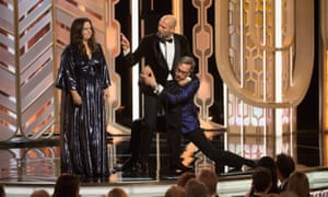Presenters Melissa McCarthy, Jason Statham, and Paul Feig