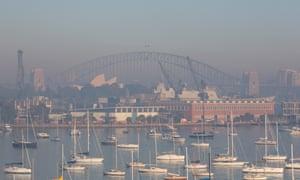 Smoke haze across Sydney Harbour on Tuesday morning
