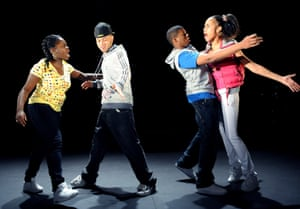 Bunmi Mojekwu, Ricci McLeod, Ashley Chin and Zawe Ashton in Gone Too Far! by Bola Agbaje, directed by Bijan Sheibani in 2008