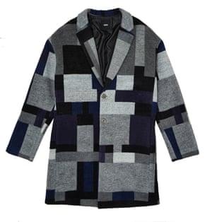 drop shoulder check coat