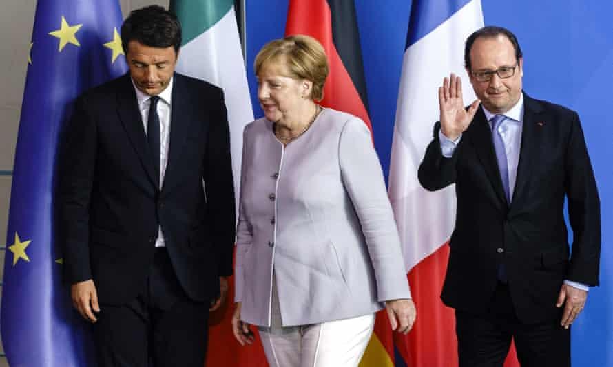 Matteo Renzi, François Hollande and Angela Merkel
