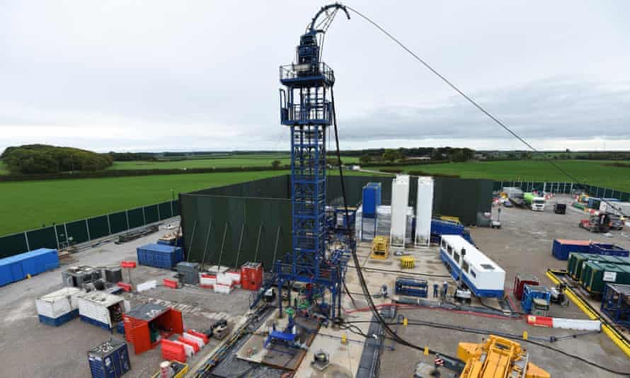 The drilling rig at Cuadrilla's Preston New Road fracking site.