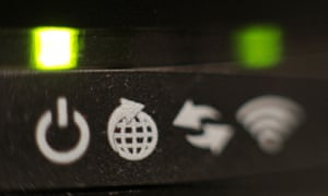 The lights on the front panel of a broadband internet router.