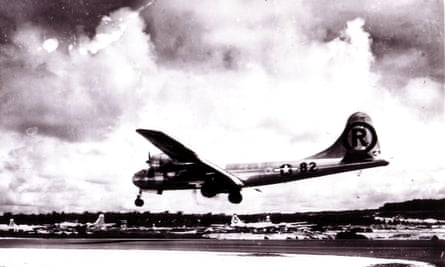 The Enola Gay lands at the Tinian airbase in the Mariana Islands after the bombing of Hiroshima. Did the B-29 Superfortress bomber herald a new age of nuclear terror?