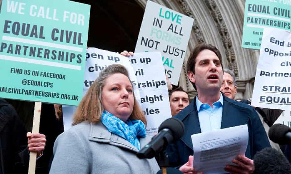 Rebecca Steinfeld and her partner Charles Keidan outside court