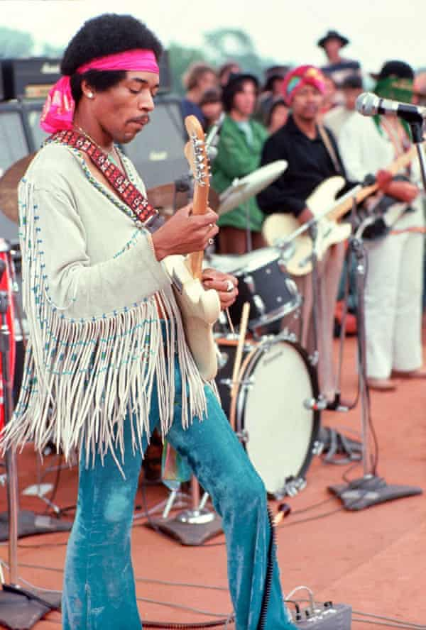 Jimi Hendrix performs at the Woodstock festival in Bethel, New York in August 1969.