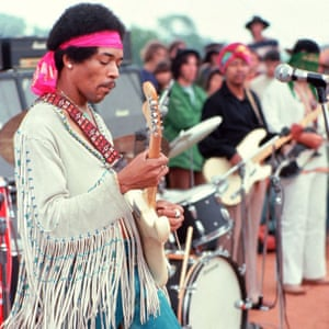 Jimi Hendrix performing The Star-Spangled Banner at Woodstock, 1969.