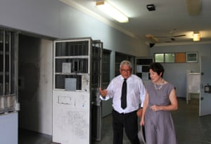 Gooda and White touring the behavioural management unit, now no longer used, where Dylan Voller and other teenage detainees spent days in solitary confinement.