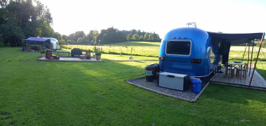 Airstreams in situ, in Somerset, UK.