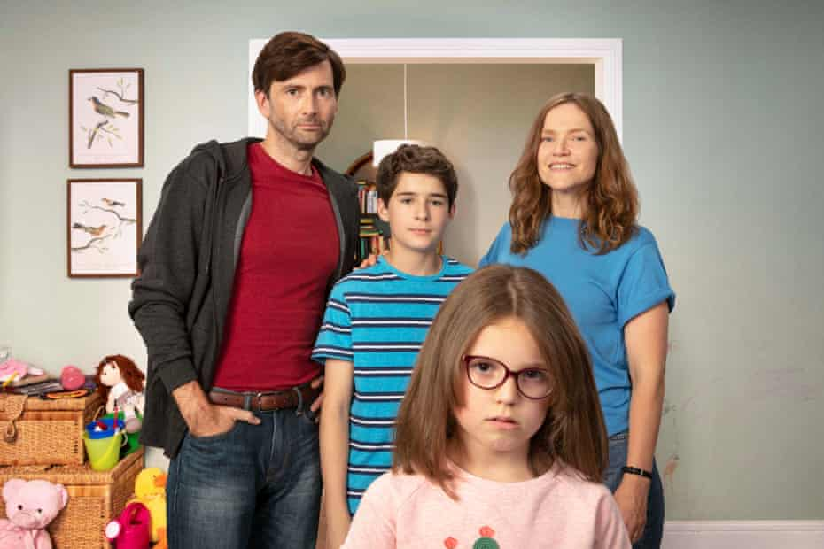Jessica Hynes with David Tennant, Edan Hayhurst and Miley Locke in There She Goes.
