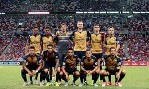 The Arsenal starting XI resplendent in their new away kit.