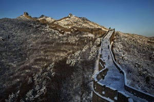 The Great Wall is photographed after a snowfall near Beijing, China