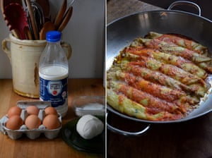 Rachel Roddy's crespelle ripiene: rollover pancakes in a tomato sauce.