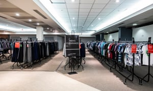Discounted rails of clothing at the Wolverhampton House of Fraser.