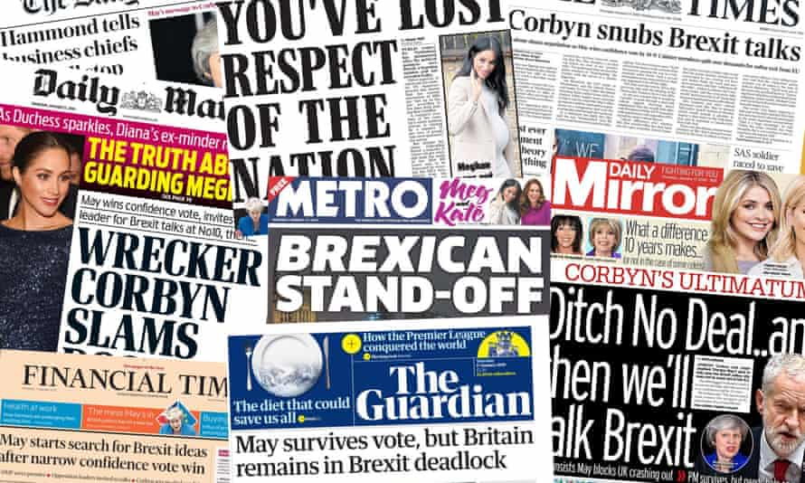 Composite of the front page of the UK papers on Thursday 17 January after Theresa May survived a no confidence motion in the wake of the failed Brexit deal vote.
