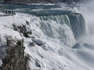 Niagara Falls, NY Ice forms on a frozen Niagara Falls.Much of the United States is blanketed by a sub freezing Artic storm that extends from the Canadian border to the Gulf Coast.