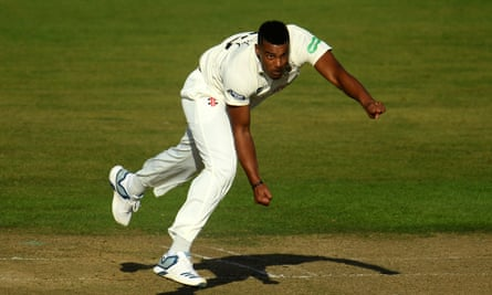 Shannon Gabriel bowling for Gloucestershire in last season's County Championship.