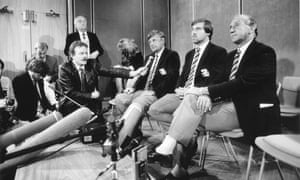 England cricket team press conference (L to R) Peter Lush, Mike Gatting and Micky Stewart on their return to the UK, 22 December 1987.