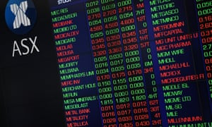 The indicator boards at the Australian Stock Exchange
