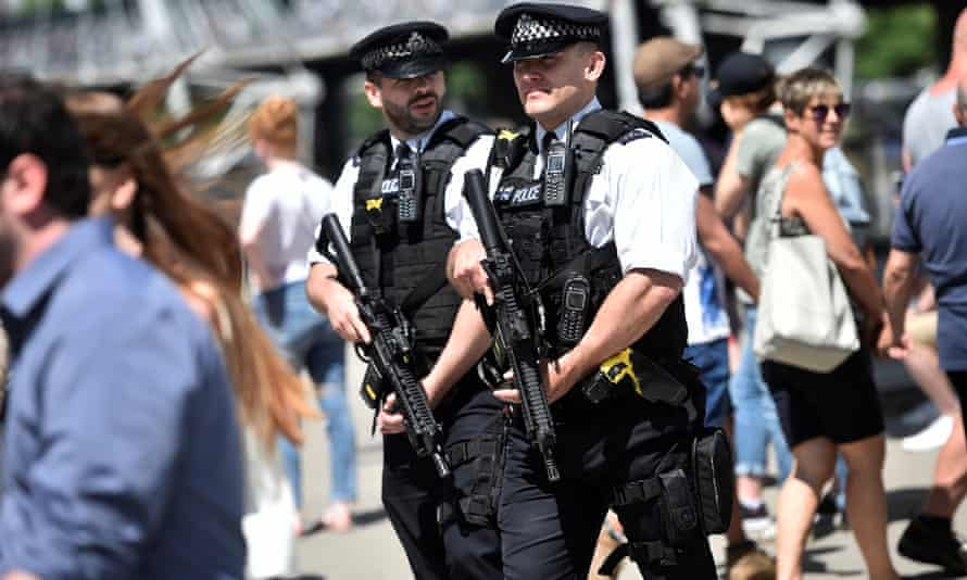 Armed police step up their patrols at home