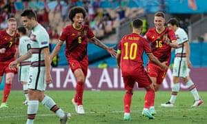 Thorgan Hazard of Belgium celebrates with Eden Hazard after scoring.