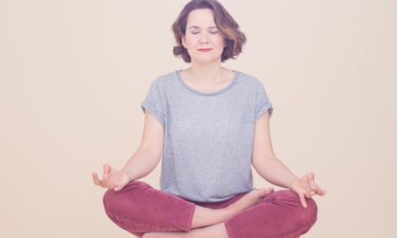 Sophie Heawood in the lotus position with her eyes shut