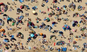 Aerial view of a crowded beach, Weymouth, Dorset, UK