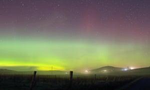 The aurora borealis seen on Shetland, Scotland