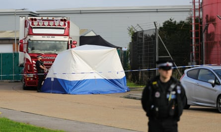 A container where bodies were discovered parked near an industrial estate at Grays in Essex on 23 October last year.