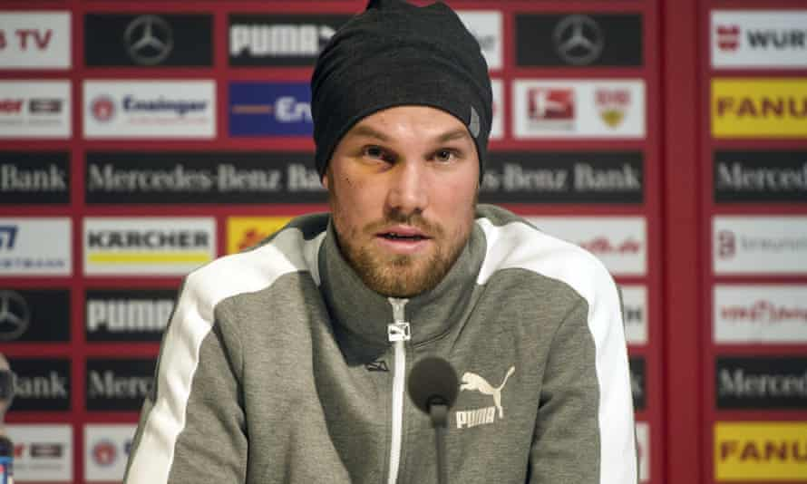 Kevin Grosskreutz at a press conference where his departure from VfB Stuttgart was confirmed.