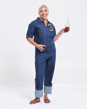 Cherie Hulbert-Thomas, salon owner, wears jumpsuit, £160, lfmarkey.com. Sandals, £29.99, zara.com. Glasses, £294, moyatelier.com. Earrings, £89, otiumberg.com.