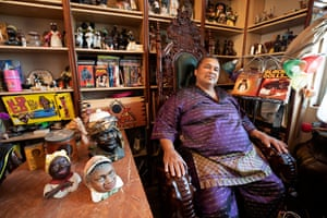 'I collect everything' … Oran Z with his hoard of black memorabilia at home near Lancaster, California.
