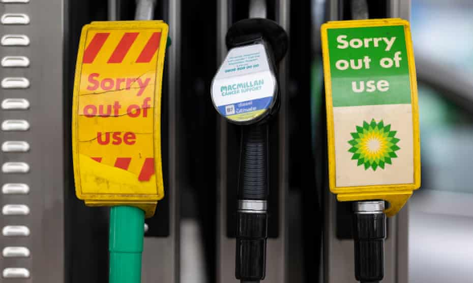 Pumps out of action at a BP petrol station in London