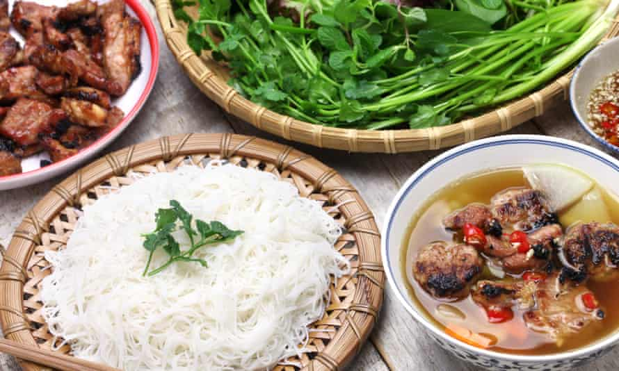 Bún chả, grilled pork rice noodles and herbs.