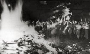Books being burned in Berlin in 1933.