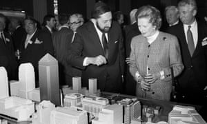 Prime Minister Margaret Thatcher is shown a model of the proposed development at Canary Wharf in London's Docklands in 1988.