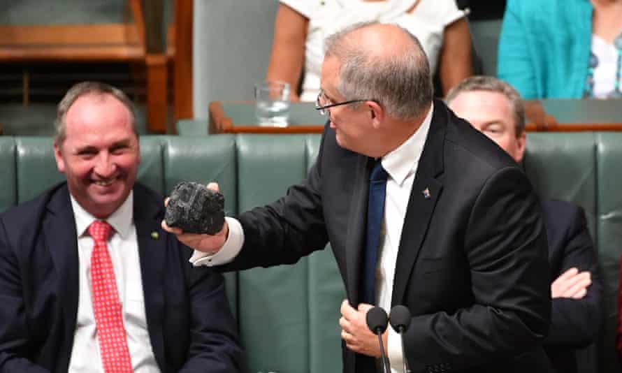 Scott Morrison with a lump of coal