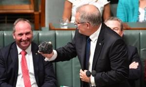 Treasurer Scott Morrison with a lump of coal