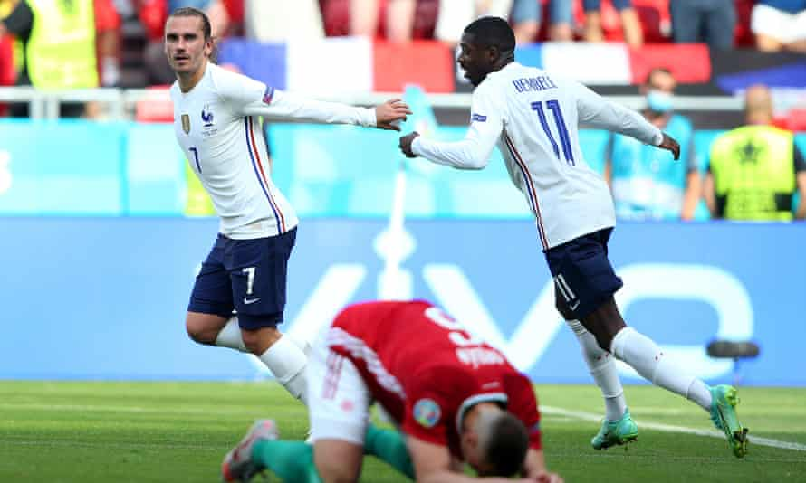 Antoine Griezmann wheels away after levelling the scores.