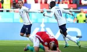 Antoine Griezmann of France celebrates with Ousmane Dembele after scoring their side's equaliser.