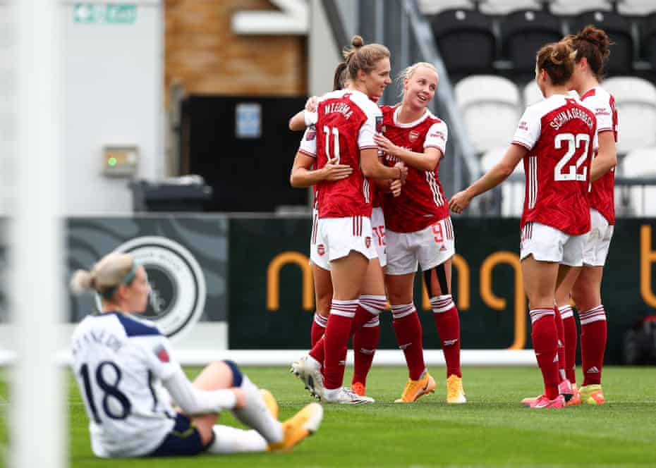 Vivianne Miedema celebrates scoring her second and Arsenal's fourth goal in the thumping win over Tottenham last month.